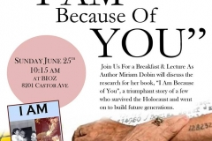 I am because of you. Meeting with Author Miriam Dobin