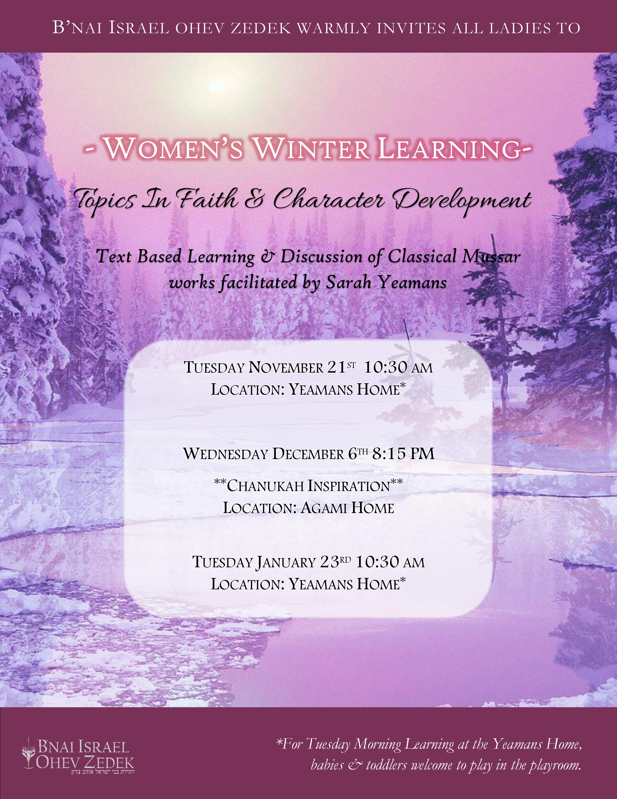 our women's winter learning series