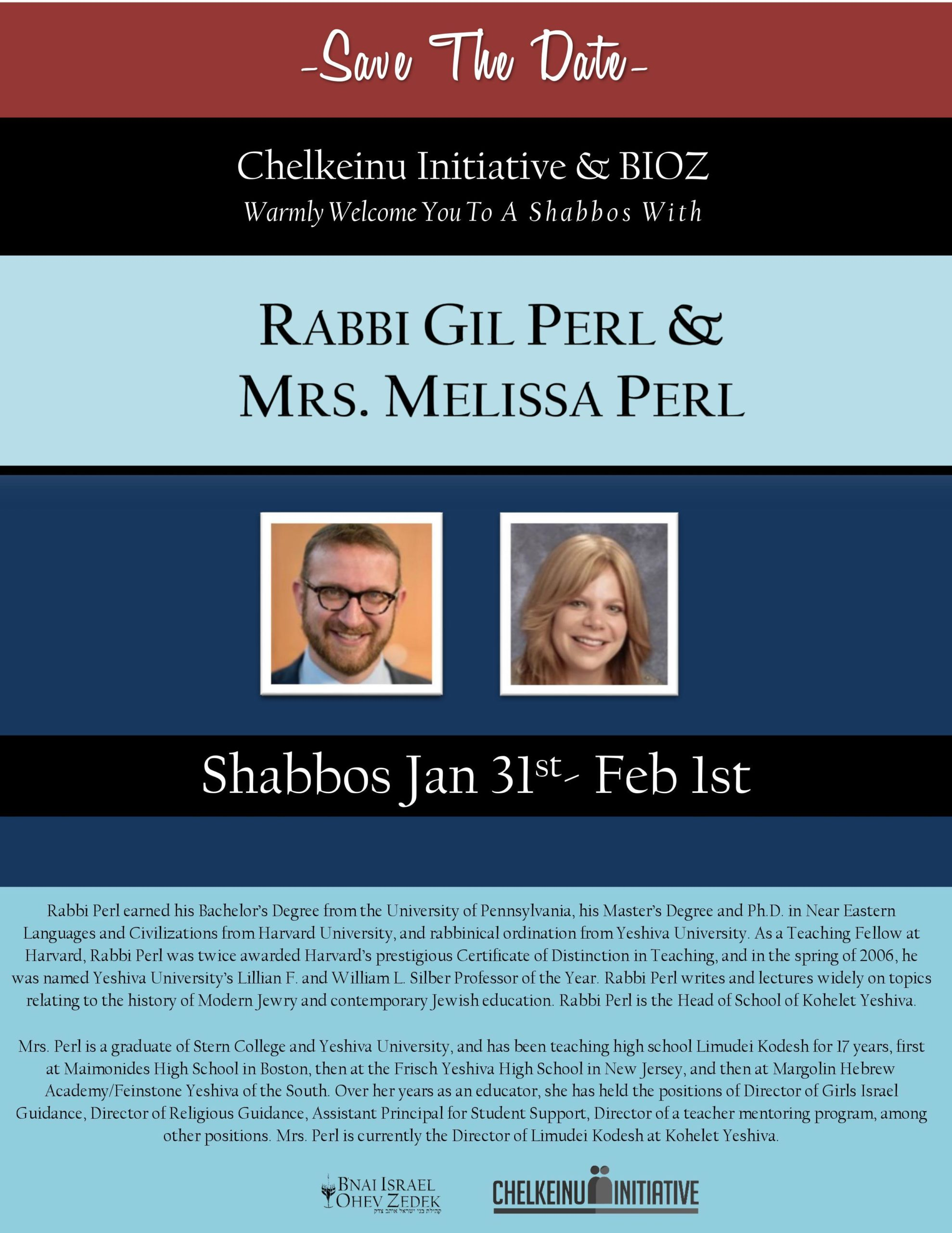 Shabbos with Rabbi and Mrs Perl